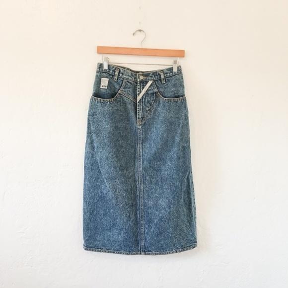 Vintage Denim - VTG 80's Jordache Studio Denim Midi Skirt - Sz M